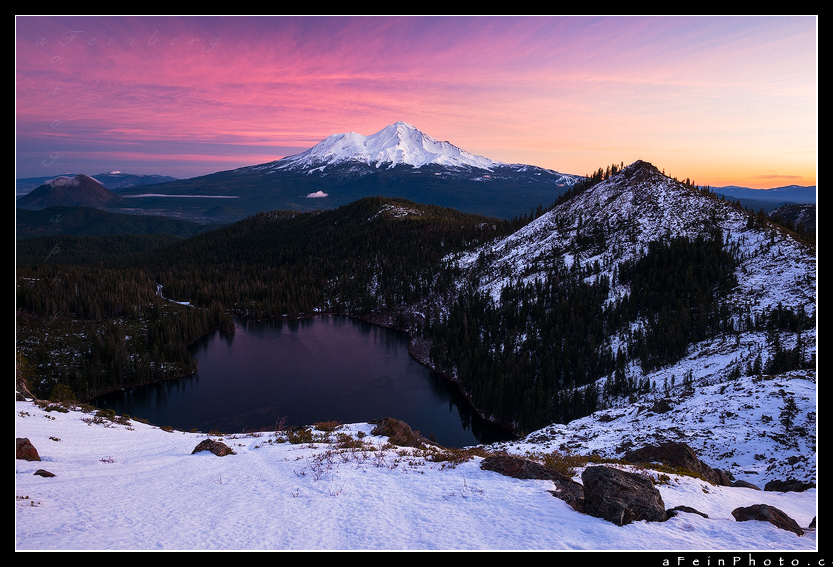 Incredible pastel sunrise over Mt. Shasta as seen from the Heart Lake area.