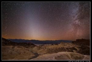 Stars and Milky Way over Zabriskie Point, Death Valley.