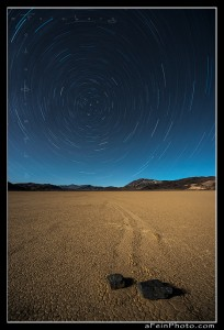 Star trails over the Racetrack Playa in Death Valley, CA