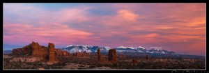 Colorful sunset over Arches National Park, Utah