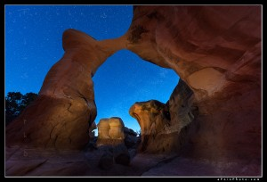 Milky Way and stars as seen through an arch in Utah's Escalante wilderness.