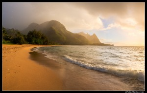 Sunset from Tunnels beach on Kauai.