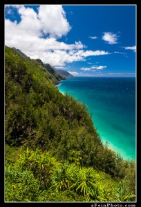 Na Pali coast at midday with bright tropical colors