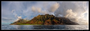 The incredible Na Pali coast as seen from off the coast of Kauai.