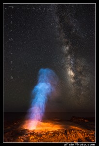 Spouting Horn on Kauai under the Milky Way