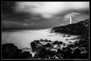 Nawiliwili Lightouse in black and white with long exposure