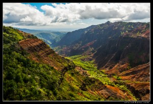Waimea Canyon under dappled light
