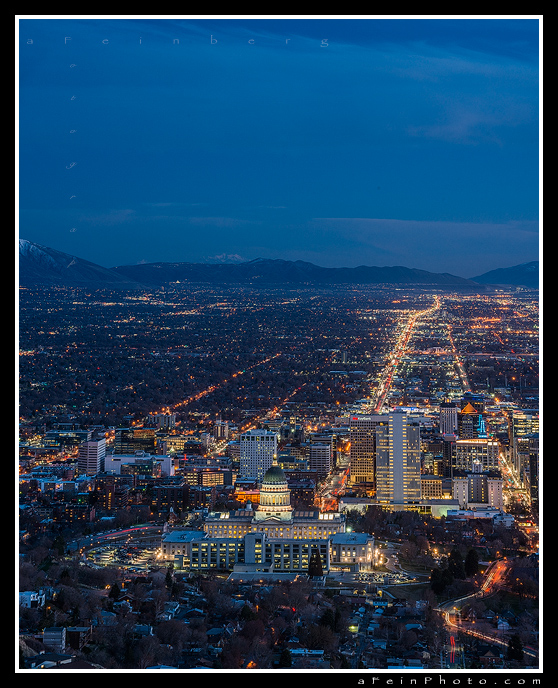 Salt Lake City at blue hour.