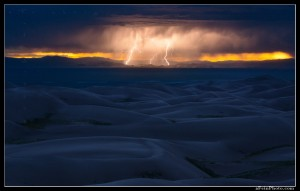 Lightning across the San Luis valley as seen from Great Sand Dunes National Park