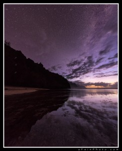 """The Space Between"" Twilight turns to darkness at the end of the road. The Na Pali Coast reflects in to a still Ke'e Beach lagoon as the stars and Milky Way make their presence known. Magical. aF"