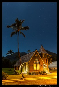 Waioli Church in Hanalei under moonlight and clear skies