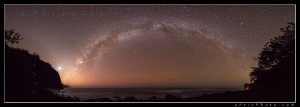 Milky Way archs over the ocean as seen from Ke'e Beach