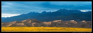 The Great Sand Dunes under late afternoon light and dramatic skies