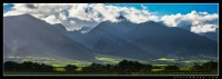 Beams of light coming from the clouds over Waikapu valley on West Maui.