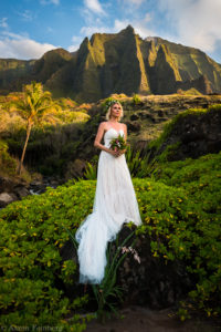 Bride in Kalalau  with dramatic light