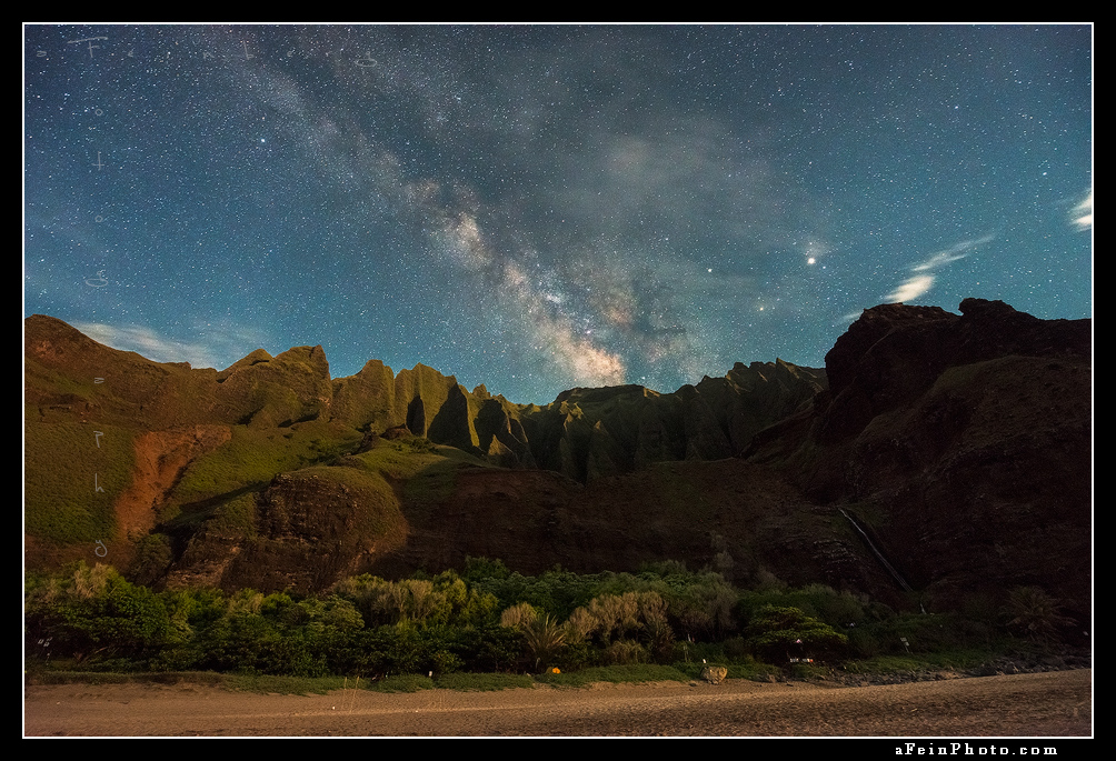 Milky Way over the cathedrals at Kalalau
