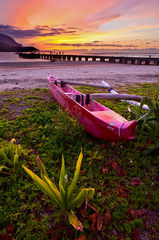 canoe,feinberg,green,hanalei,kauai,orange,outrigger,pier,sunset,vertical