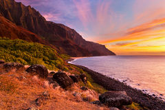 feinberg,horizontal,kalalau,kauai,orange,sunset, remote,