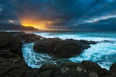 bali hai,blue,dramatic,feinberg,hanalei,horizontal,kauai,princeville,queens bath,sunset