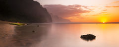 feinberg, kauai, ke'e, panorama, solitude, sunset, seascape, beach, na pali,