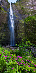 feinberg,hanakapi'ai,hanakapiai,lush,panorama,vertical,waterfall, remote