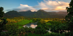 feinberg,hanalei valley,kauai,mountains,panorama,river,sunset