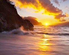beach,feinberg,hanalei bay,hawaii,hideaways,kauai,landscape,ocean,orange,princeville,seascape,sunset,waves