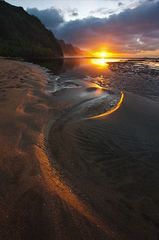 beach,feinberg,ke'e,seascape,sunset,sunstar,vertical
