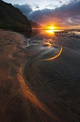 beach,feinberg,ke'e,seascape,sunset,sunstar,vertical