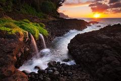 bali hai,feinberg,hawaii,horizontal,princeville,seascape,sunset,waterfall