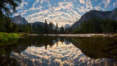 california,feinberg,half dome,pano,panorama,reflection,yosemite