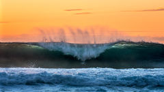 feinberg, kauai, hawaii, wave, surf, sunset, seascape, barrel, surfing
