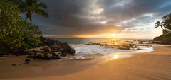 beach,feinberg,makena,maui,palm tree,panorama,seascape,sunset,wailea