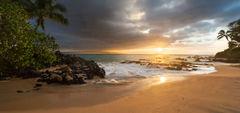 beach,feinberg,makena,maui,palm tree,panorama,seascape,sunset,wailea