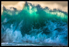 Aaron Feinberg, wave, surf, kauai, hawaii, princeville, horizontal, turquoise, blue, orange