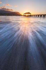 feinberg, vertical, hanalei, pier, kauai, hawaii, sunset