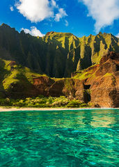 feinberg, kalalau, vertical, na pali coast, turquoise, blue, morning,