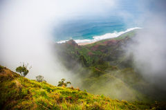 kauai, kalalau, horizontal, love, heart, remote, green, clouds,
