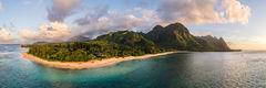 Aaron Feinberg, aerial, drone, panorama, panoramic, horizontal, kauai, tunnels, makua, beach, makana, bali hai, north shore, sunset