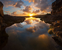 4x5,feinberg,horizontal,kauai,kilauea lighthouse,reflection,secrets,sunrise, secrets beach