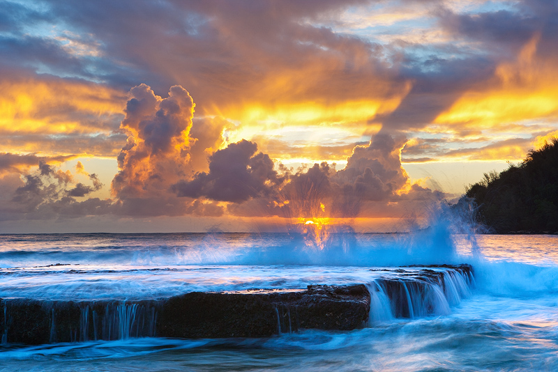 blue,feinberg,god,horizontal,kauai,moloa'a,seascape,sunrise,yellow, photo