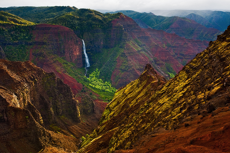 feinberg,green,horizontal,kauai,red,waimea canyon,waterfall, photo