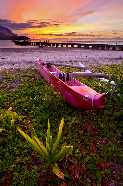 canoe,feinberg,green,hanalei,kauai,orange,outrigger,pier,sunset,vertical, photo