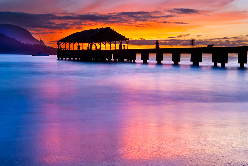 feinberg,hanalei,horizontal,orange,pier,purple,red,sunset, photo
