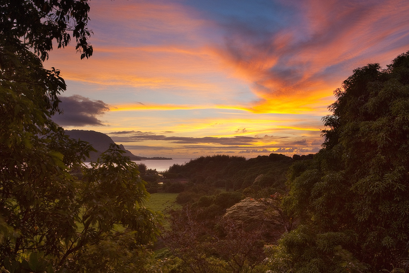 bali hai,feinberg,hanalei,horizontal,kauai,princeville,sunset, photo