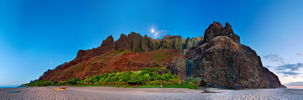 blue,feinberg,kalalau,kauai,moon,panorama, photo