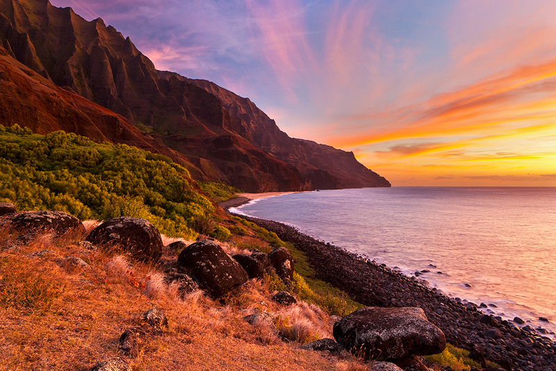 feinberg,horizontal,kalalau,kauai,orange,sunset, remote, , photo