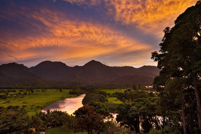 feinberg,hanalei,horizontal,mountain,princeville,sunset, photo