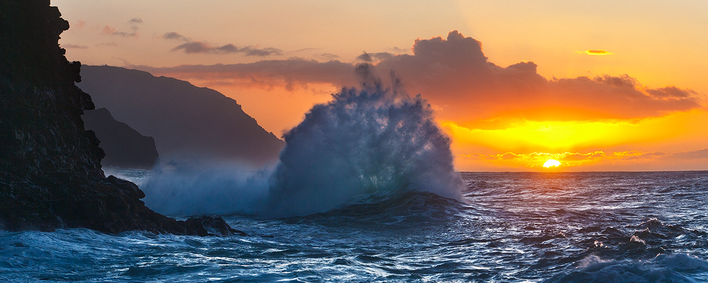 feinberg,kauai,ke'e,na pali,panorama,seascape,sunset,wave, photo