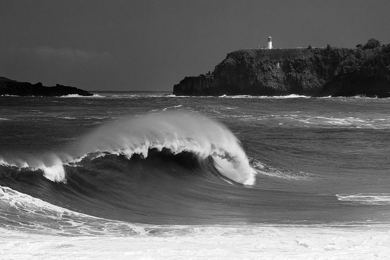 black and white,feinberg,horizontal,kauai,kilauea lighthouse,wave, secrets beach, photo